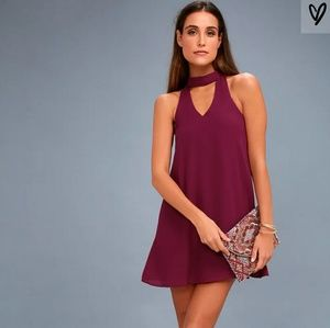 NWT Lulu's Chocker Magenta Swing Mini Dress.